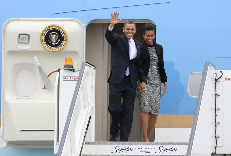 barack and michelle arriving to ireland